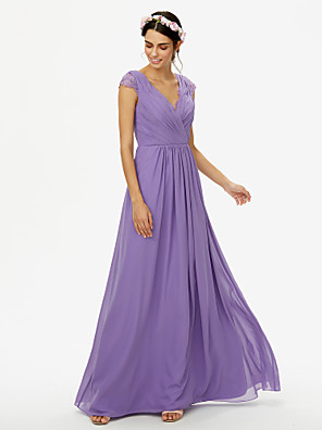 cheap Bridesmaid Dresses-A-Line V Neck Floor Length Chiffon / Lace Bridesmaid Dress with Lace / Criss Cross / Pleats / See Through