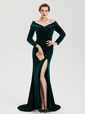 cheap Evening Dresses-Sheath / Column Celebrity Style Furcal Formal Evening Dress Off Shoulder Long Sleeve Sweep / Brush Train Velvet with Split 2020