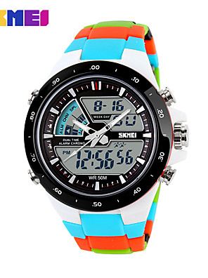 cheap Sport Watches-Men's Sport Watch Skeleton Watch Military Watch Quartz Digital Ladies Water Resistant / Waterproof Silicone Multi-Colored Analog - Digital - Black Blue Orange Two Years Battery Life / Alarm / LCD