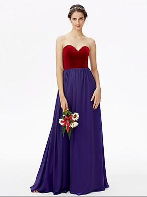 cheap Mother of the Bride Dresses-A-Line Sweetheart Neckline Floor Length Chiffon / Velvet Bridesmaid Dress with Pleats