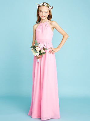 cheap Junior Bridesmaid Dresses-A-Line Halter Neck Floor Length Chiffon Junior Bridesmaid Dress with Sash / Ribbon / Natural