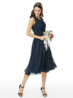 cheap Cocktail Dresses-A-Line V Neck Tea Length Chiffon Bridesmaid Dress with Criss Cross / Ruched / Pleats