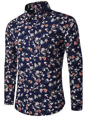 cheap Men's Shirts-Men's Floral Print Slim Shirt Daily Classic Collar Navy Blue / Long Sleeve