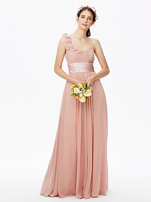 cheap Mother of the Bride Dresses-A-Line One Shoulder Floor Length Chiffon Bridesmaid Dress with Sash / Ribbon / Criss Cross / Pleats / Open Back