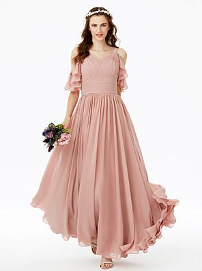 cheap Prom Dresses-A-Line Spaghetti Strap Floor Length Chiffon Bridesmaid Dress with Sash / Ribbon / Bow(s) / Pleats / Open Back