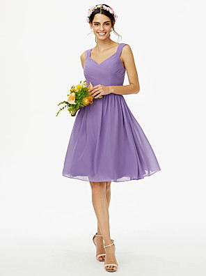 cheap Mother of the Bride Dresses-A-Line Straps Knee Length Chiffon Bridesmaid Dress with Sash / Ribbon / Bow(s) / Criss Cross / Open Back