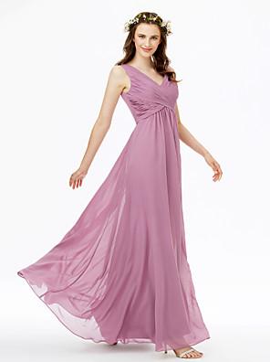cheap Bridesmaid Dresses-Sheath / Column V Neck Floor Length Chiffon Bridesmaid Dress with Criss Cross / Pleats / Open Back