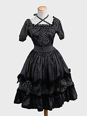 cheap Casual Dresses-Princess Sweet Lolita Dress Women's Girls' Japanese Cosplay Costumes Black Polka Dot Stripes Short Sleeve Knee Length