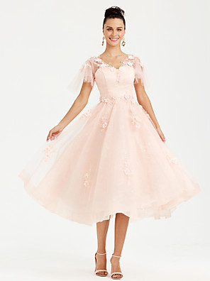 cheap Evening Dresses-A-Line Elegant Pink Wedding Guest Cocktail Party Dress V Neck Short Sleeve Tea Length Tulle with Appliques 2020