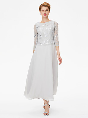 cheap Cocktail Dresses-Sheath / Column Mother of the Bride Dress Elegant See Through Jewel Neck Ankle Length Chiffon Lace 3/4 Length Sleeve with Crystals 2020 / Illusion Sleeve