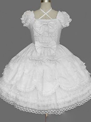 cheap Historical & Vintage Costumes-Princess Punk Summer Dress Women's Girls' Japanese Cosplay Costumes Plus Size Customized White Ball Gown Vintage Cap Sleeve Short Sleeve Short / Mini