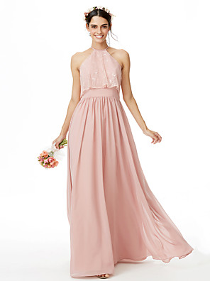 cheap Special Occasion Dresses-A-Line Jewel Neck Floor Length Chiffon / Lace Bridesmaid Dress with Lace / Pleats