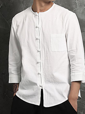 cheap Men's Shirts-Men's Solid Colored Shirt - Cotton Linen Casual Chinoiserie Daily Weekend Round Neck White / Navy Blue / Spring / Fall / Long Sleeve