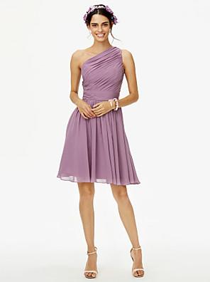 cheap Bridesmaid Dresses-A-Line One Shoulder Knee Length Chiffon Bridesmaid Dress with Bow(s) / Sash / Ribbon / Side Draping