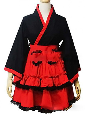 cheap Bridesmaid Dresses-Princess Wa Lolita Dress Japanese Traditional Kimono Women's Girls' Cotton Japanese Cosplay Costumes Plus Size Customized Red Ball Gown Vintage Cap Sleeve Long Sleeve Short / Mini