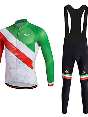 cheap Cocktail Dresses-Miloto Men's Cycling Jersey with Bib Tights - Red Bike Clothing Suit Sports Polyester Lycra Italy Mountain Bike MTB Road Bike Cycling Clothing Apparel / Quick Dry / Stretchy / Advanced / Advanced