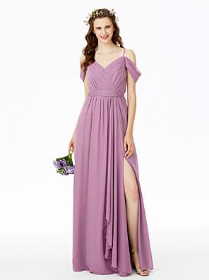 cheap Bridesmaid Dresses-Sheath / Column Spaghetti Strap Floor Length Chiffon Bridesmaid Dress with Split Front