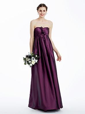 cheap Bridesmaid Dresses-Sheath / Column Strapless / Sweetheart Neckline Floor Length Taffeta Bridesmaid Dress with Ruched / Flower