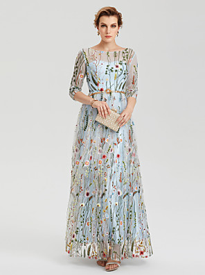 cheap Prom Dresses-A-Line Empire Blue Party Wear Wedding Guest Dress Illusion Neck 3/4 Length Sleeve Floor Length Lace with Embroidery Appliques 2020 / Illusion Sleeve