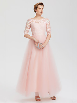 cheap Prom Dresses-A-Line Elegant Pink Wedding Guest Formal Evening Dress Illusion Neck Floor Length Lace Over Tulle with Lace Insert Appliques 2020 / Illusion Sleeve
