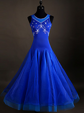 cheap Plus Size Dresses-Ballroom Dance Dress Crystals / Rhinestones Women's Sleeveless Organza Spandex