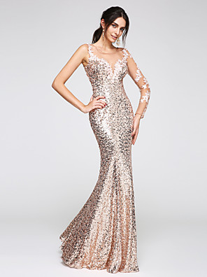 cheap Special Occasion Dresses-Mermaid / Trumpet Elegant Sparkle & Shine See Through Prom Formal Evening Dress Illusion Neck Long Sleeve Floor Length Sequined Floral Lace with Sequin Appliques 2020 / Illusion Sleeve