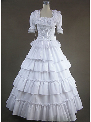 cheap Lolita Dresses-Gothic Victorian Medieval 18th Century Dress Party Costume Masquerade Women's Lace Cotton Costume White Vintage Cosplay Party Prom Short Sleeve Floor Length Plus Size Customized
