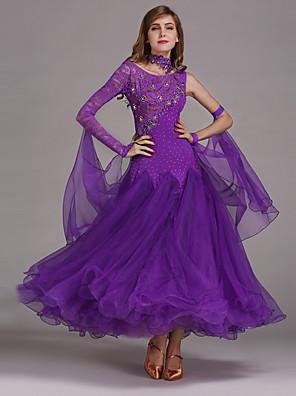 cheap Ballroom Dancewear-Ballroom Dance Dress Women's Performance Spandex Lace Tulle