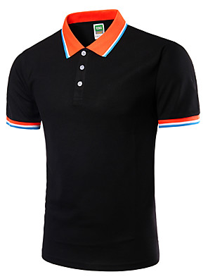 cheap Boys' Tops-Men's Plus Size Solid Colored Slim Polo Active Daily Going out Weekend Shirt Collar White / Black / Green / Royal Blue / Light gray / Spring / Short Sleeve