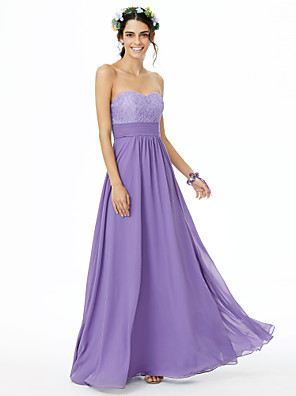 cheap Bridesmaid Dresses-A-Line Sweetheart Neckline Floor Length Chiffon / Lace Bridesmaid Dress with Lace / Sash / Ribbon / Ruched / Open Back