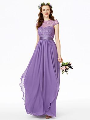 cheap Bridesmaid Dresses-A-Line Jewel Neck Floor Length Chiffon / Floral Lace Bridesmaid Dress with Lace / Sash / Ribbon / Bow(s)