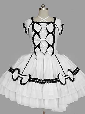 cheap Sport Watches-Princess Sweet Lolita Dress Women's Girls' Cotton Japanese Cosplay Costumes Plus Size Customized White / Black Ball Gown Vintage Cap Sleeve Short Sleeve Short / Mini