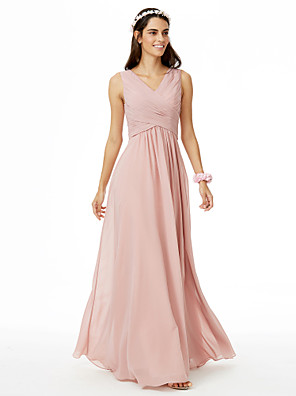 cheap Wedding Wraps-A-Line V Neck Floor Length Chiffon Bridesmaid Dress with Criss Cross / Pleats