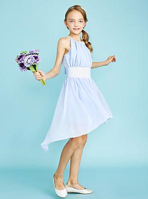 cheap Junior Bridesmaid Dresses-Sheath / Column Jewel Neck Asymmetrical Chiffon Junior Bridesmaid Dress with Sequin / Natural