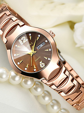 cheap Quartz Watches-Women's Bracelet Watch Gold Watch Ladies Water Resistant / Waterproof Stainless Steel Black / Silver / Yellow Analog - Golden yellow Black Gold Two Years Battery Life / Calendar / date / day