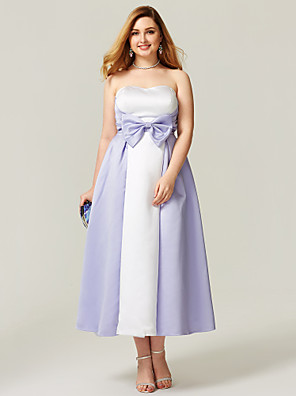 cheap Cocktail Dresses-A-Line Plus Size White Prom Formal Evening Dress Strapless Sleeveless Ankle Length Satin with Bow(s) Pattern / Print 2020