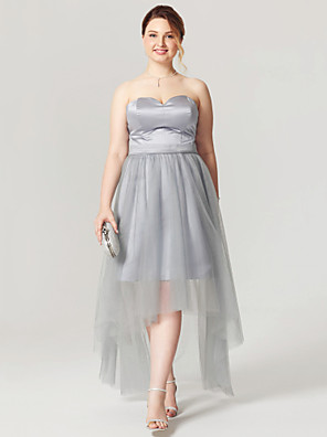 cheap Special Occasion Dresses-A-Line Open Back See Through Holiday Homecoming Cocktail Party Dress Sweetheart Neckline Sleeveless Asymmetrical Satin Tulle with Sash / Ribbon Pleats 2020 / Prom