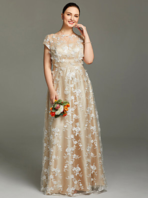 cheap Evening Dresses-Sheath / Column Floral Pastel Colors Holiday Cocktail Party Formal Evening Dress Illusion Neck Short Sleeve Floor Length Lace with Pleats Flower 2020