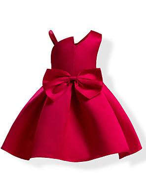 cheap Girls' Dresses-Kids Girls' Sweet Solid Colored Bow Sleeveless Dress Blue / Cotton