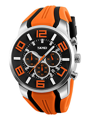 cheap Sport Watches-SKMEI Men's Wrist Watch Quartz Charm Fake Three Eyes Six Needles Silicone Black / Blue / Red Analog - Black Red Blue Two Years Battery Life / Maxell626+2025