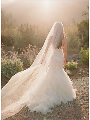 cheap Wedding Slips-One-tier Cut Edge Wedding Veil Chapel Veils with Flower Comb Tulle / Angel cut / Waterfall