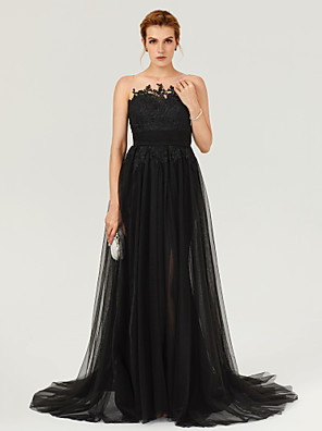 cheap Evening Dresses-A-Line Beautiful Back Furcal Holiday Cocktail Party Formal Evening Dress Illusion Neck Sleeveless Court Train Tulle with Sash / Ribbon Buttons Pleats 2020