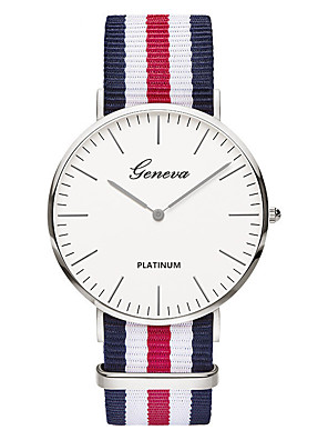 cheap Quartz Watches-Geneva Men's Wrist Watch Quartz Ladies Nylon Black / Brown Analog - White / Red Red Pink One Year Battery Life / SSUO 377