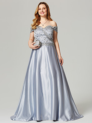cheap Special Occasion Dresses-A-Line Sparkle & Shine Open Back Beaded & Sequin Holiday Cocktail Party Prom Dress Off Shoulder Short Sleeve Sweep / Brush Train Satin with Crystals Beading 2020 / Formal Evening
