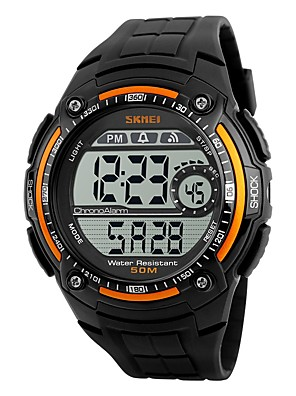 cheap Sport Watches-SKMEI Men's Sport Watch Digital Watch Digital Water Resistant / Waterproof Quilted PU Leather Black Digital - Silver / Gray Black Red Two Years Battery Life / Stopwatch / Maxell CR2025