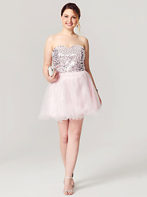 cheap Cocktail Dresses-A-Line Fit & Flare Sparkle & Shine Lace Up Homecoming Cocktail Party Prom Dress Sweetheart Neckline Sleeveless Short / Mini Tulle Sequined with Pleats Sequin 2020