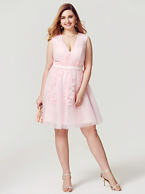 cheap Plus Size Dresses-Ball Gown Elegant Pastel Colors Holiday Homecoming Cocktail Party Dress V Neck Sleeveless Knee Length Tulle with Side Draping 2020 / Prom