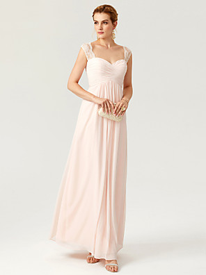cheap Special Occasion Dresses-Sheath / Column Elegant Minimalist Open Back Prom Wedding Party Dress Straps Sleeveless Floor Length Chiffon Lace with Lace Criss Cross Pleats 2020