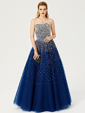 cheap Special Occasion Dresses-Ball Gown Formal Evening Dress Strapless Floor Length Satin Tulle Stretch Satin with Sequin 2020