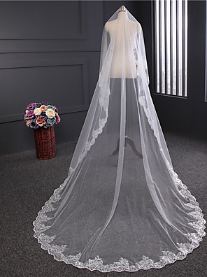 cheap Mother of the Bride Dresses-One-tier Lace Applique Edge Wedding Veil Chapel Veils with Satin Flower / Sequin / Appliques Tulle / Classic